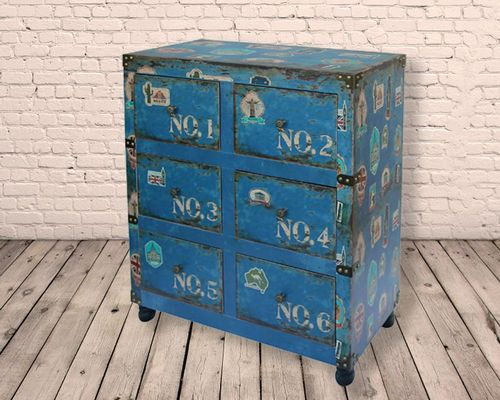 6 Drawer Numbered Distressed Side Cabinet